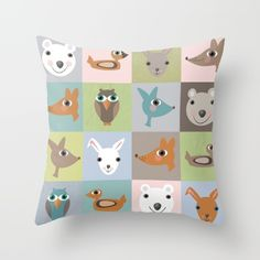 New Wood Animals Blocks Throw Pillow. Designed by Marion Westerman.