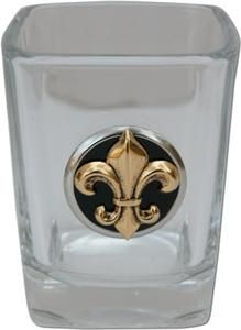 Shot Glass with Black/Gold Fleur de Lis by @classiclegacy good guy gift.
