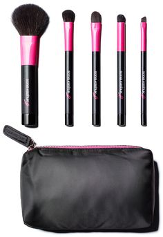 Be beautiful inside and out with this set of professional quality makeup brushes with clean white handles, chic silver accents and pink plush bristles. Set includes silver carrying case with pink lining, Powder.Blusher brush, Synthetic concealer brush, Eye shadow brush, Crease brush and Synthetic bent eye liner brush. Available year round with 15 percent of the purchase price to benefit BCRF.