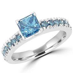 - Majesty Diamonds - Blue Diamond Engagement 1 1/6 CTW Multi Stone Radiant Cut Ring in 14K White Gold, $2,059.00 (http://www.majestydiamonds.com/blue-diamond-engagement)