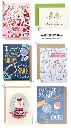 A roundup of cute, illustrated Valentine's Day cards from 1Canoe2, Anni Betts, Skipping Fox, and more
