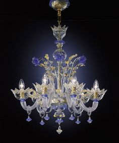 Image of Hand Blown Murano Glass Six-Light Chandelier Murano Chandelier, Chandelier Lighting, Crystal Chandeliers, Blue Chandelier, Crystal Palace, Lighting Concepts, Beautiful Lights, Beautiful Things, Hanging Lights