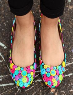 Check out these cool button shoes. Revamp an old pair this weekend!