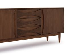 This compact media console with tapered legs and retro drawer details adds mid-century modern style and functional storage to any room. Japanese Living Rooms, Console Cabinet, Sideboard, Mid-century Modern, Living Spaces, Drawers, Interior Design, Retro, Storage
