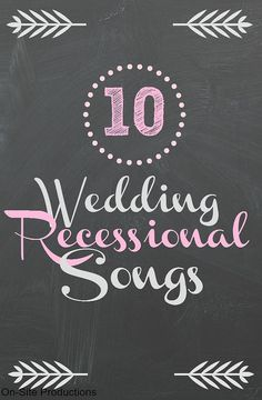 Your walk back down the aisle as NEWLYWEDS is a joyful occasion!  You need a fun, upbeat, and modern song for the wedding recessional.  The link to the complete playlist is attached!!! Check it out:   http://www.onsitereceptions.com/#!Ten-Wedding-Recessional-Songs/c15o3/564a334b0cf2708e001d9a2b