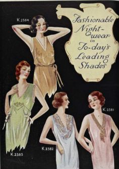 """Advertisement: 1933, """"Fashionable Night-wear in Today's Leading Shades."""""""