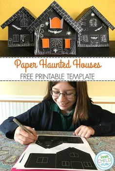 Paper Haunted House Lanterns for Halloween - Inner Child Fun Halloween Art Projects, Halloween Arts And Crafts, Halloween Activities For Kids, Paper Crafts For Kids, Diy Halloween Decorations, Crafts For Teens, Diy For Kids, Holiday Activities, Halloween Class Party