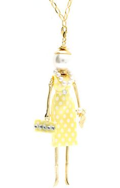Le Carose  Tiffany CATF-03. Sterling silver necklace yellow gold plated. Sterling silver pendant yellow gold plated with pearl, beads, Swarovski and fabric. #lecarose #tiffany #Swarovski