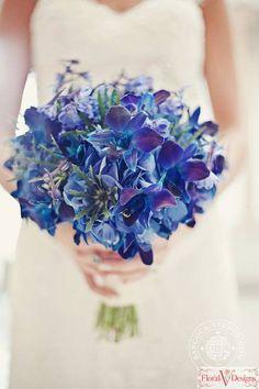 GORGEOUS Bridal Bouquet Showcasing: Blue Hydrangea, Blue Eryngium Thistle, Blue Delphinium & Blue Dendrobium Orchids^^^^