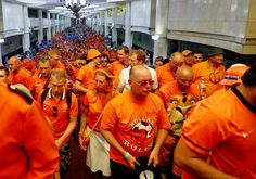 The orange parade of dutch soccer fans on their way to the stadium before the match against germany 13th of june 2012 #euro2012