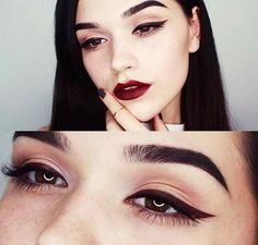 Cat eye and classic red lips