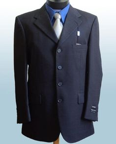 Mens Dress Navy Blue 4 Buttons Style Suits non back vent coat style Pleated Pants $199