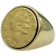 Coco Chanel Coin Gold Signet Ring
