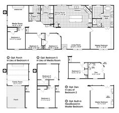 The Homerun HRT472A6 Home Floor Plan - The Homerun manufactured home by Palm Harbor Homes is 4 Bedrooms, 2 Baths, 2,160 Sq. Ft. It has a large living room, open kitchen with island, a media room, a large Master retreat with a huge master closet, a spacious master bath and many, many more standard features! Available in Texas, Louisiana, New Mexico, Oklahoma and Arkansas.