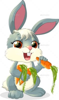Rabbit eats a carrot on a white background