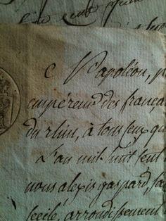 French Antique Documents - what gorgeous script! Pen And Paper, Paper Art, Old Letters, French Script, Penmanship, Caligraphy, Decorating Bookshelves, Lost Art, Cursive