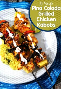 Grilling is one of the quintessential summer activities. These 30 minute Pina Colada Grilled Chicken Kabobs are a great recipe that will please even the pickiest of eaters. Grilled Chicken Kabobs, Chicken Kabob Recipes, Entree Recipes, Side Recipes, Grilling Recipes, Easy Dinner Recipes, Appetizer Recipes, Yummy Recipes, Smoker Recipes