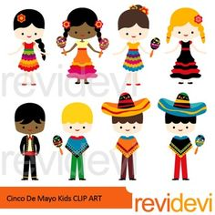 Cinco de mayo kids clip art includes 8 cute graphics. This set features 4 girls and 4 boys in festive costumes. Great for 5th May fiesta theme projects and Mexican theme creations.You might also like this setLink-Cinco de mayo clip artThese digital images will be perfect for your projects such as for making kis activity, classroom decor, bulletin elements, and for more craft and creations.Great resource for any school and classroom projects such as for creating bulletin board, printable…