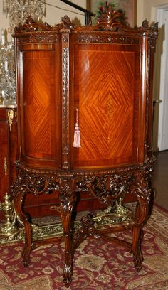 Superior Restored Inlaid Satinwood French Carved China Liquor Cabinet MINT 1920s