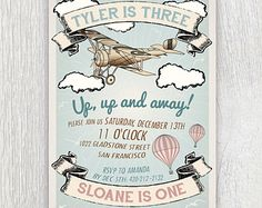 Printable vintage airplane and hot air balloon invitation - Joint birthday party - First birthday - Boy Birthday party - Baby shower
