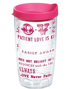 Inspired by 1 Corinthians 13:4-8, you'll love this new Tervis design. Love is kind. Love is patient. And love is meant to be shared. A great gift. $15