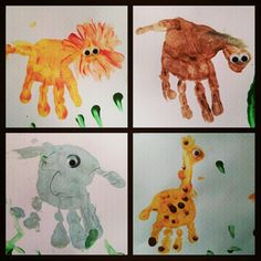 Kid Handprint Art Animals - Lion, Horse, Elephant, Giraffe (Photo by kikoloves)