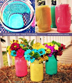 A fantastic DIY tutorial on how to paint mason jar's and transform them into a beautiful vase. Great to add some colour to a birthday party or as a simple way to spice up the house.
