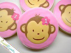 SweetTweets - Mod Monkey Girl Birthday Cookies - 1 dozen