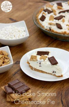 No Bake S'mores Cheesecake Pie Recipe l www.a-kitchen-addiction.com