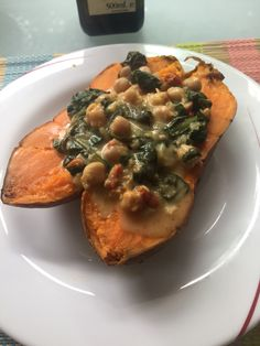 Chickpea & spinach on sweet potato