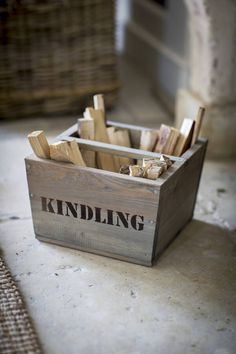 I've just found Kindling Box. Our new wooden Kindling Box in spruce makes a great fireside accessory and exudes rustic charm.. £24.50