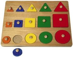 The Size Comparison Wood Shapes Puzzle is a great toy to help kids with size and shape. The 15 shapes are arranged in order by color and size. Solid construction make this high quality toy one that wi Educational Toys For Kids, Learning Toys, Kids Toys, Easy Wood Projects, Projects For Kids, Cnc Projects, Woodworking For Kids, Woodworking Projects, Wooden Puzzles
