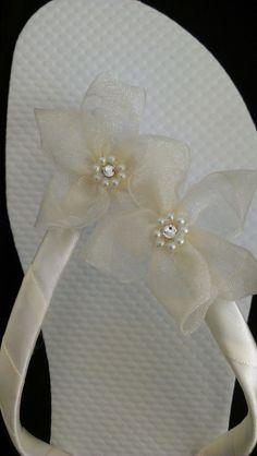 """""""Waikiki"""" Ivory Bridal Flip Flops"""
