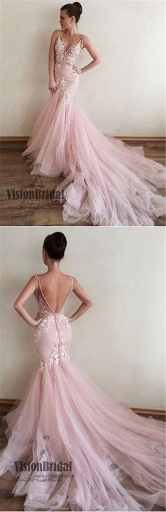 Pink V-Neck Lace Appliques V-Back Mermaid Prom Dress With Trailing, Beautiful Prom Dress, VB0485 #promdress #promdresses #lacedress #applique #pink