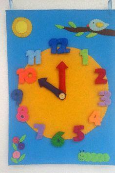 Montessori Clock, Large Wall Clock, Felt Clock, Preschool Learning, Kindergarten Toy, Montessori Toys, Telling Time, Sensory Toy, Felt Toy