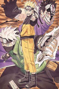 Manga Cap Naruto - Obito, Kakashi and Naruto Naruto Uzumaki, Boruto, Anime Naruto, Kakashi And Obito, Anime Echii, Sasunaru, Naruto Fan Art, Naruto Drawings, Naruto Series