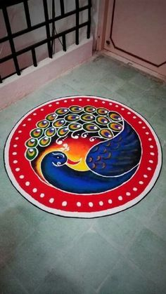 Beautiful Wedding Rangoli Designs Ideas for Your Wedding Décor That You Mustn't Miss <br> Rangoli designs 2019 are about incorporating flowers in them. Flower wedding rangolis have gained much popularity this wedding season. Rangoli Designs Peacock, Easy Rangoli Designs Diwali, Simple Rangoli Designs Images, Rangoli Designs Latest, Free Hand Rangoli Design, Rangoli Border Designs, Small Rangoli Design, Colorful Rangoli Designs, Rangoli Patterns
