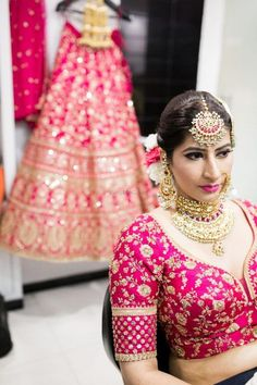 A Beautiful Jalandhar Wedding With A Bride In Bright Pink Lehenga Pink Lehenga, Bridal Lehenga, Bridal Outfits, Bridal Dresses, Indian Bridal Makeup, Bridal Blouse Designs, Indian Designer Wear, Wedding Looks, Indian Girls