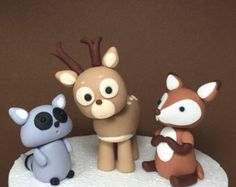 Woodland fondant animals fox deer raccoon