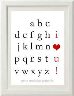 PRINTABLE custom Alphabet I Love You DIY Art Print  by annaandblue, $ 10.50