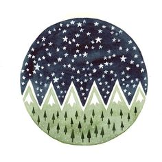 Original watercolor Forest Mountains Stars illustration art painting... ($20) ❤ liked on Polyvore featuring home, home decor, wall art, circle, fillers, circular, round, tree wall art, watercolor trees and watercolour painting