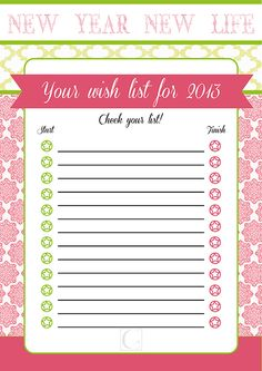 Your wish list for the new year_ FREE PRINTABLE_La Garza Azul Free Printables, Wish, It Is Finished, Paper, Blue Heron, Free Printable
