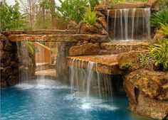 Slabs of stone make lovely waterfalls