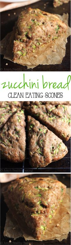 Zucchini Bread Scones -- the best way to sneak in veggies! So easy, supremely tender & packed with almost of protein!Clean-Eating Zucchini Bread Scones -- the best way to sneak in veggies! So easy, supremely tender & packed with almost of protein! Clean Eating Diet, Clean Eating Recipes, Cooking Recipes, Weight Watcher Desserts, Gluten Free Recipes, Healthy Recipes, Think Food, Healthy Baking, Gastronomia