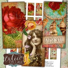 Gypsy Love, Domino Collage Sheet, Boho Collage Sheet, Digital, Collage Sheet, 1x2 Domino Collage, Bohemian Images, Collage Sheets by calicocollage on Etsy