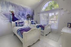 Magical Pool Villa - 4 Miles to Disney! Has Outdoor Dining Area and Private Outdoor Pool (Heated) - UPDATED 2018 - TripAdvisor - Kissimmee Vacation Rental Disney Themed Bedrooms, Disney Rooms, Bedroom Themes, Girls Bedroom, Bedroom Ideas, Bedroom Designs, Bedroom Decor, Frozen Theme Room, Frozen Room
