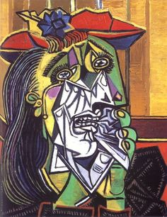Pablo Picasso >> Weeping Woman (1937), I did a copy of this painting in a collage art class I took back in 1999. It took me 29 hours and only 3 days to recreate this painting...it turned out awesome! I really enjoyed the study of this painting!
