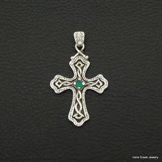 NATURAL GREEN ONYX BYZANTINE STYLE 925 STERLING SILVER GREEK HANDMADE ART CROSS #IreneGreekJewelry #Pendant