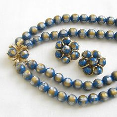 Vintage Blue Gold and Silver 2 Strand Beaded by MyVintageJewels, $42.00