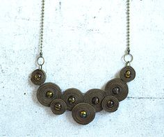Brown soutache necklace hand embroidered modern by ShoShanaArt. , via Etsy. Paper Bead Jewelry, Quilling Jewelry, Beaded Jewelry, Fashion Jewelry Necklaces, Jewelry Gifts, Fabric Flower Necklace, Soutache Necklace, Homemade Jewelry, Leather Necklace